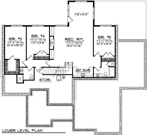 Ranch Floor Plan - Upper Floor Plan Plan #70-1039