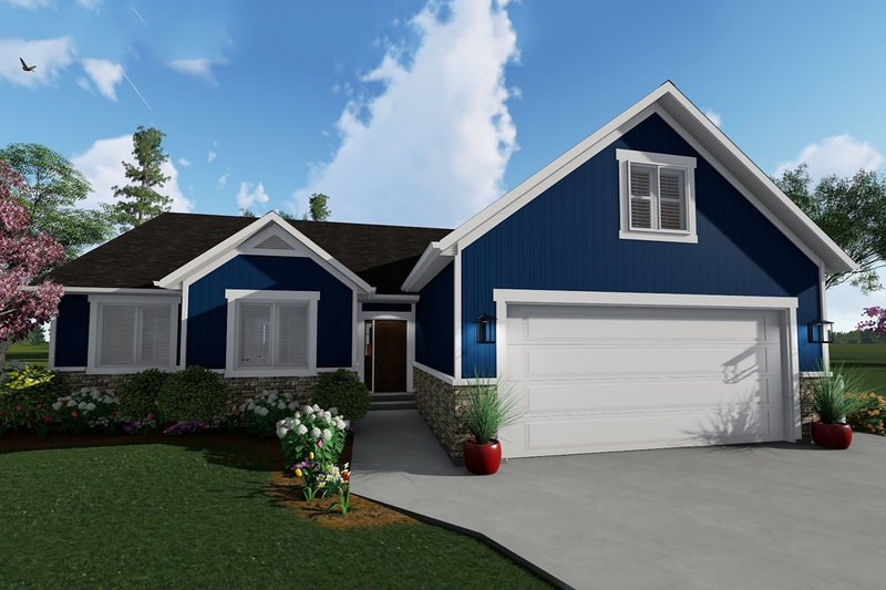 Ranch Style House Plan - 3 Beds 2 Baths 1709 Sq/Ft Plan #1060-41 Exterior - Front Elevation