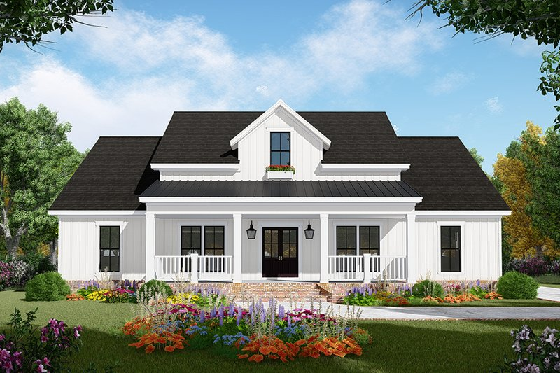Farmhouse Style House Plan - 3 Beds 2.5 Baths 2107 Sq/Ft Plan #21-442 Exterior - Front Elevation