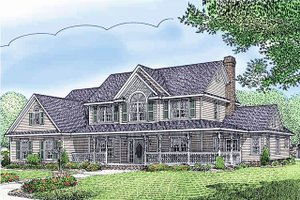 Dream House Plan - Farmhouse Exterior - Front Elevation Plan #11-124