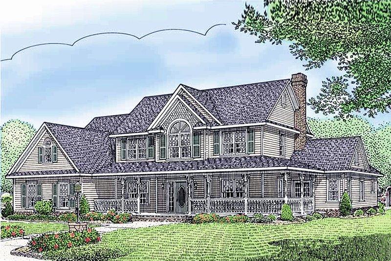 Dream House Plan - Farmhouse Exterior - Front Elevation Plan #11-124