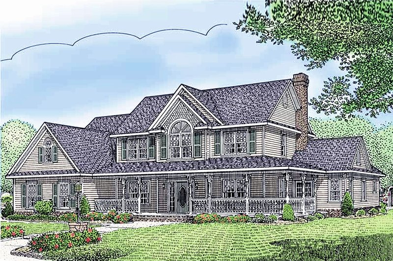 Farmhouse Style House Plan - 5 Beds 2.5 Baths 2599 Sq/Ft Plan #11-124 Exterior - Front Elevation