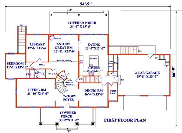 Architectural House Design - Colonial Floor Plan - Main Floor Plan #3-345