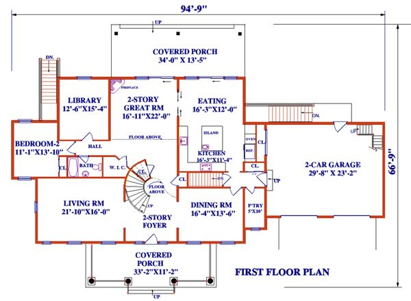 Architectural House Design - Colonial Floor Plan - Main Floor Plan #3-345