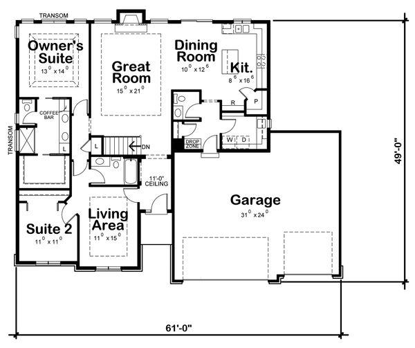 House Plan Design - Ranch Floor Plan - Main Floor Plan #20-2296