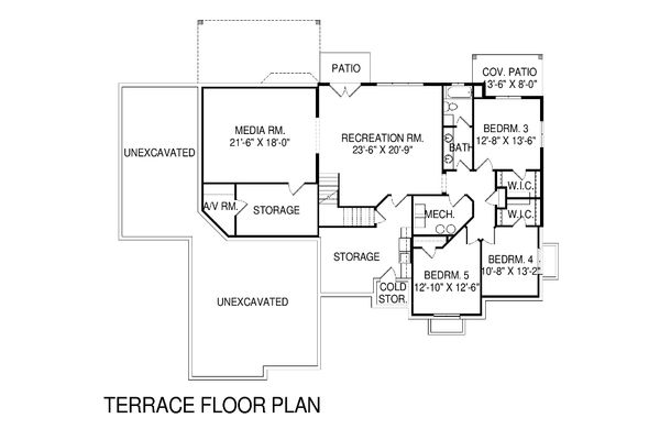 Traditional Floor Plan - Lower Floor Plan Plan #920-20