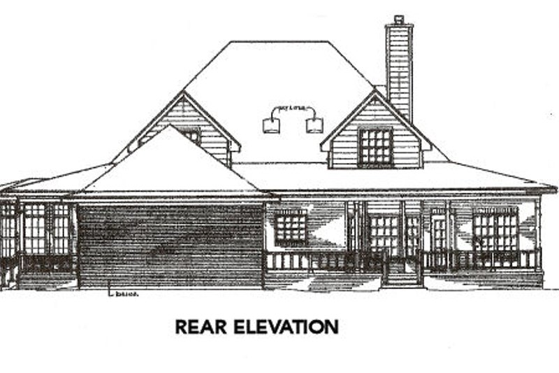 Farmhouse Exterior - Rear Elevation Plan #14-205 - Houseplans.com