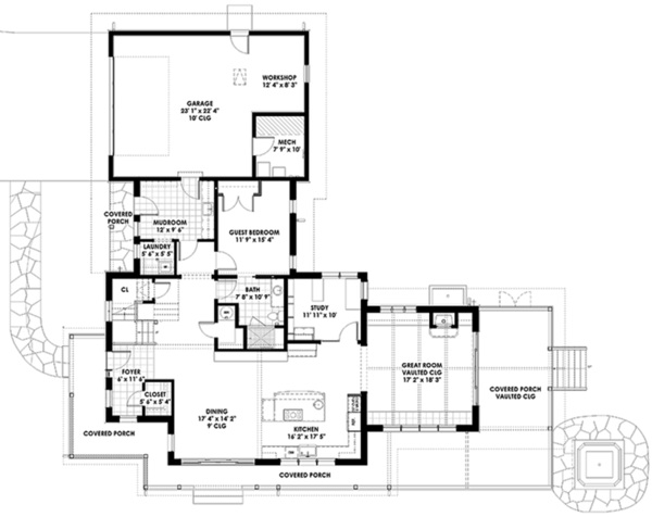 Prairie Style House Plan - 3 Beds 3 Baths 3219 Sq/Ft Plan #1042-18 Floor Plan - Main Floor Plan