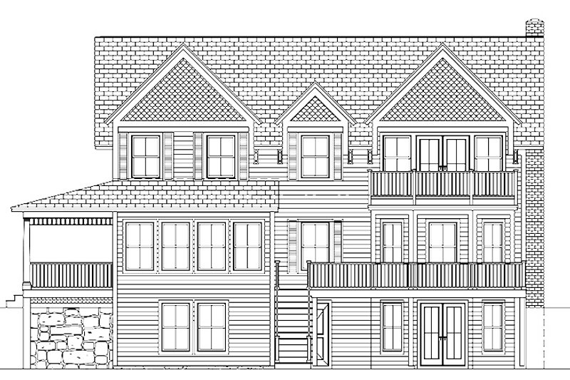 Colonial Exterior - Rear Elevation Plan #1061-6 - Houseplans.com