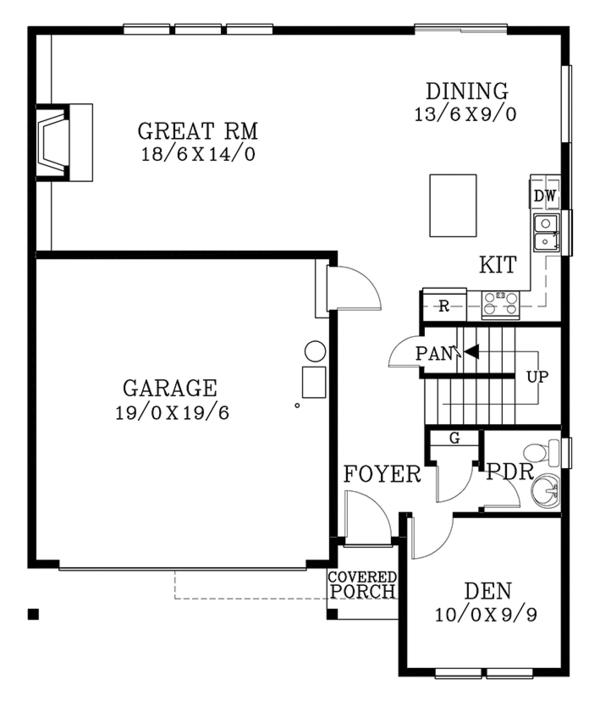 Architectural House Design - Traditional Floor Plan - Main Floor Plan #53-579