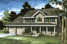 Architectural House Design - Colonial Exterior - Front Elevation Plan #1029-50