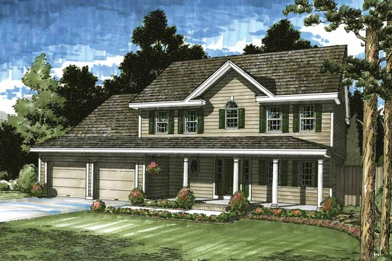 Colonial Exterior - Front Elevation Plan #1029-50