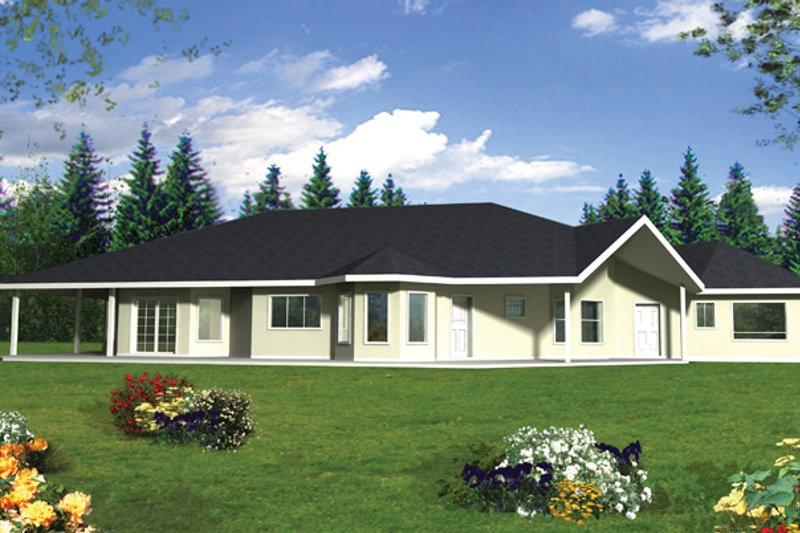 Architectural House Design - Ranch Exterior - Rear Elevation Plan #117-847