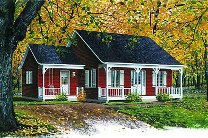 Cottage Style House Plan - 2 Beds 1 Baths 920 Sq/Ft Plan #23-101 Exterior - Front Elevation