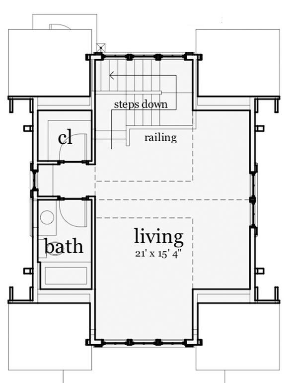 Craftsman Floor Plan - Upper Floor Plan Plan #64-319