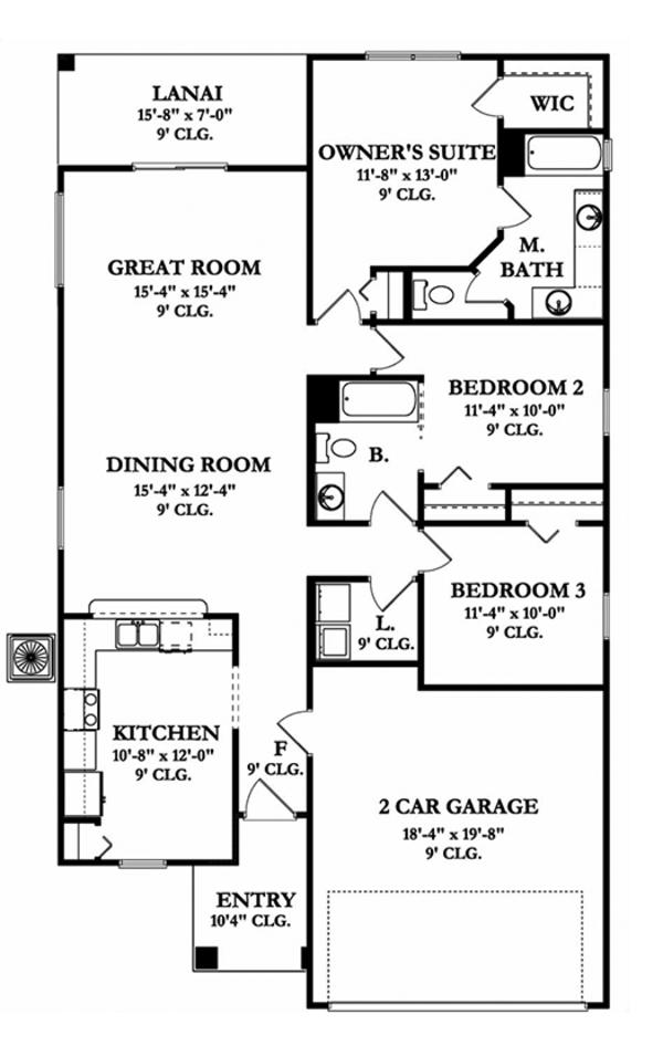Mediterranean Floor Plan - Main Floor Plan Plan #1058-89