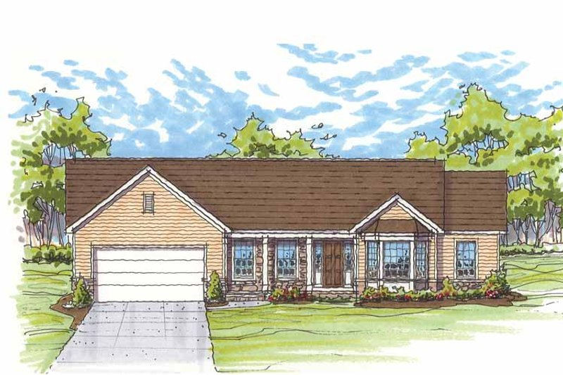Traditional Exterior - Front Elevation Plan #435-12 - Houseplans.com