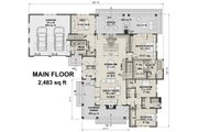 Farmhouse Style House Plan - 3 Beds 2.5 Baths 2483 Sq/Ft Plan #51-1133 Floor Plan - Main Floor Plan