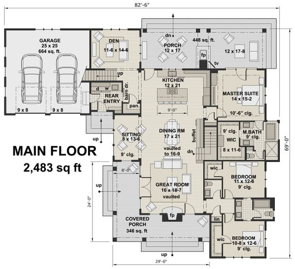 Dream House Plan - Farmhouse Floor Plan - Main Floor Plan #51-1133