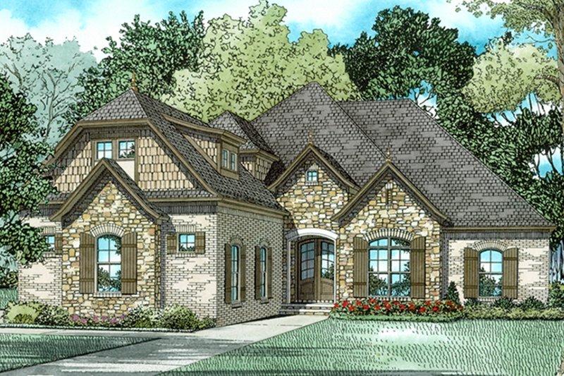 European Exterior - Front Elevation Plan #17-3387 - Houseplans.com