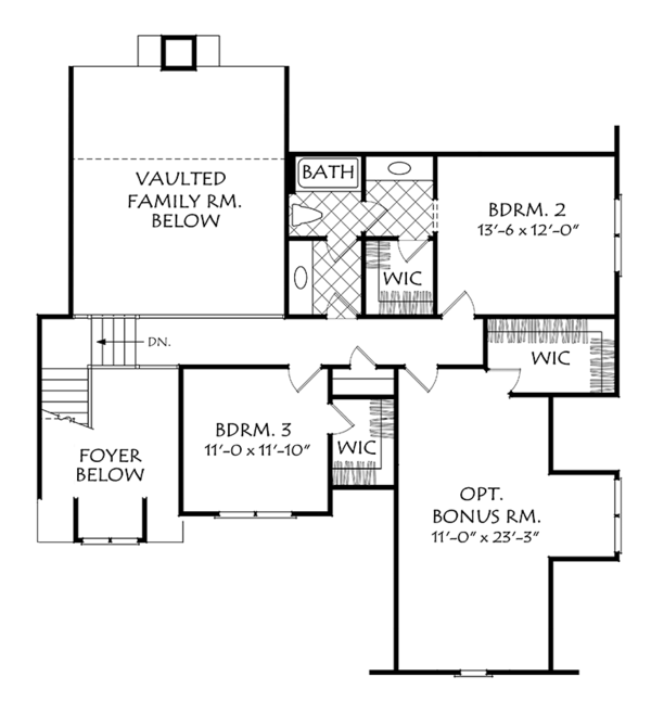 Colonial Floor Plan - Upper Floor Plan Plan #927-976
