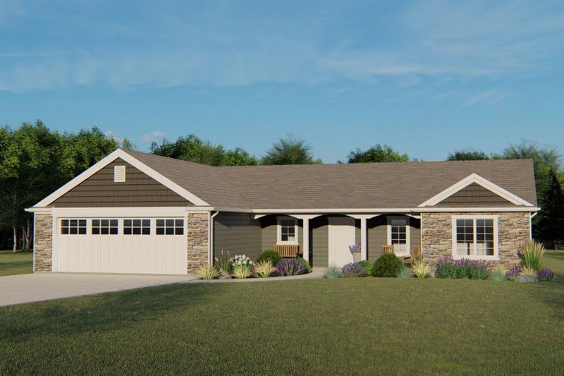 Ranch Style House Plan - 3 Beds 2.5 Baths 1779 Sq/Ft Plan #1064-80 Exterior - Front Elevation