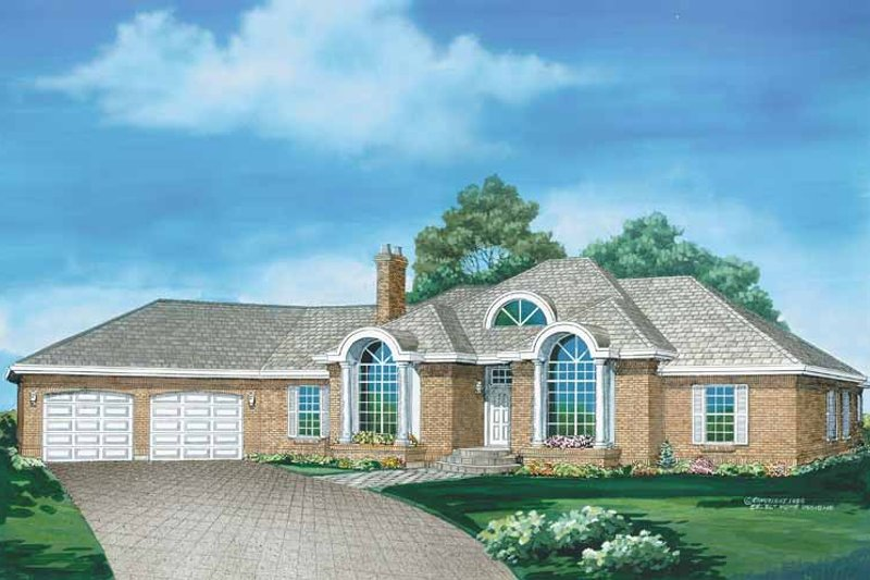 European Exterior - Front Elevation Plan #47-750