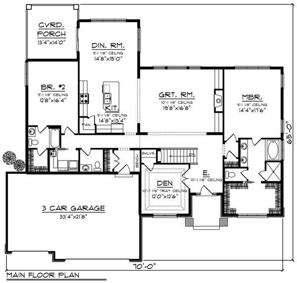 Modern Floor Plan - Main Floor Plan Plan #70-1424
