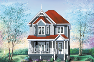 Victorian Exterior - Front Elevation Plan #25-201