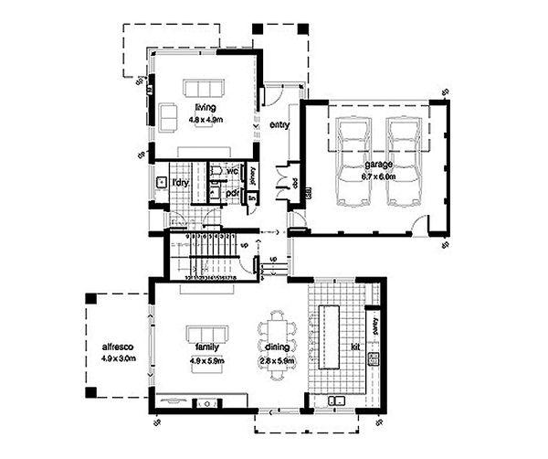 Modern Style House Plan - 4 Beds 2.5 Baths 3389 Sq/Ft Plan #496-17 Floor Plan - Main Floor Plan
