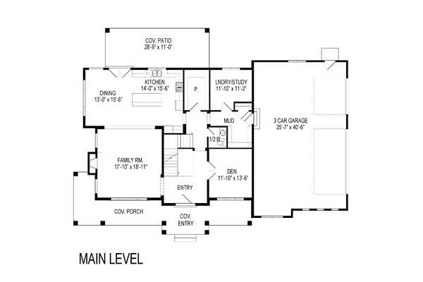 Craftsman Floor Plan - Main Floor Plan Plan #920-8