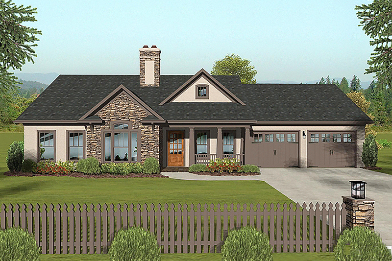 Craftsman Style House Plan - 3 Beds 2 Baths 1399 Sq/Ft Plan #56-618 Exterior - Front Elevation