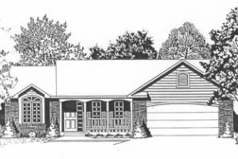 Traditional Style House Plan - 2 Beds 2 Baths 1179 Sq/Ft Plan #58-110 Exterior - Front Elevation