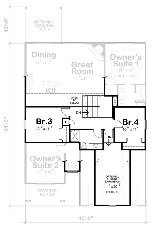 Craftsman Floor Plan - Upper Floor Plan #20-2398