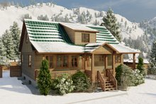 House Design - Cabin Exterior - Covered Porch Plan #1060-24