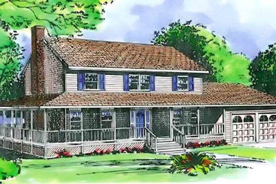 Country Exterior - Front Elevation Plan #320-306