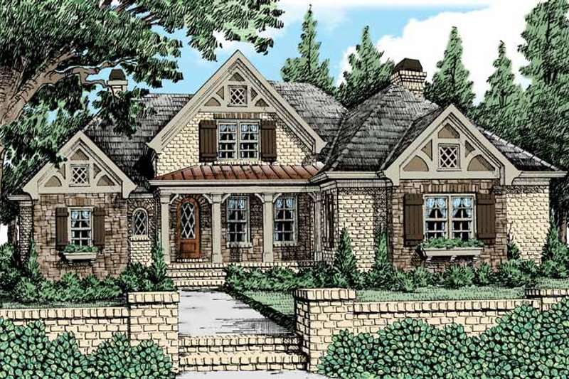 Tudor Exterior - Front Elevation Plan #927-431