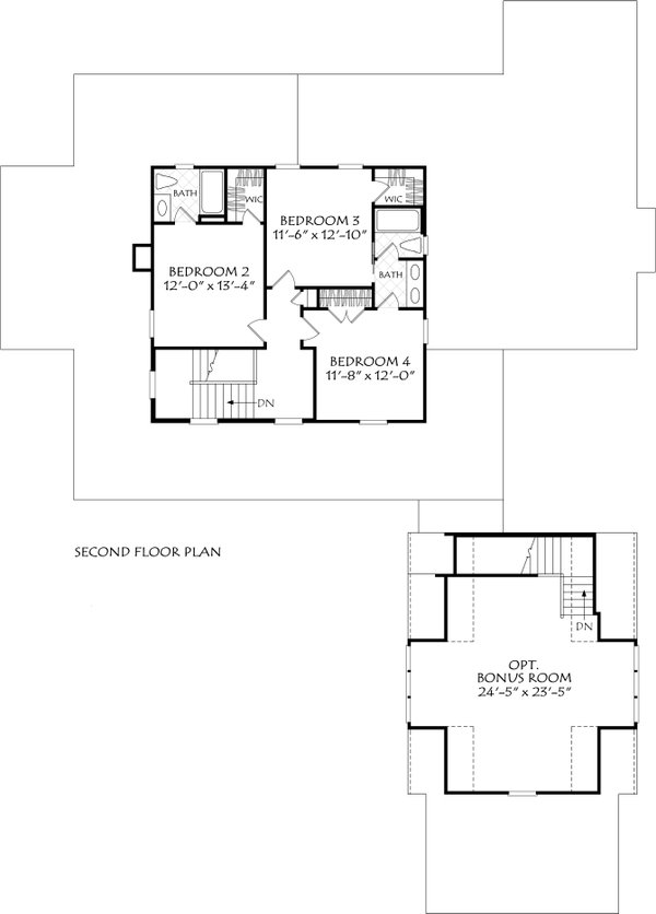 Farmhouse Floor Plan - Upper Floor Plan #927-1021