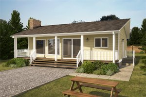 Cottage Exterior - Front Elevation Plan #126-215