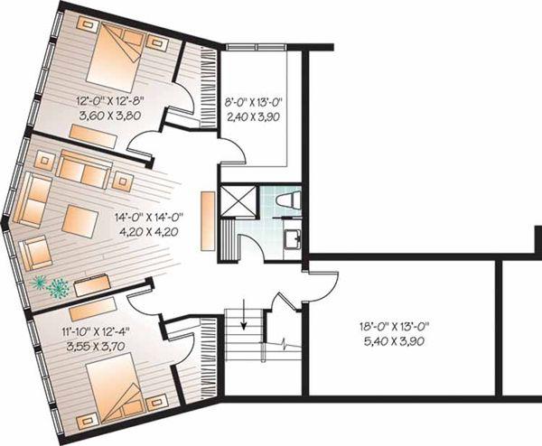 Contemporary Floor Plan - Lower Floor Plan Plan #23-2460