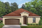 Mediterranean Style House Plan - 3 Beds 2 Baths 1612 Sq/Ft Plan #1058-53 Exterior - Front Elevation