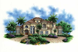 Dream House Plan - Mediterranean Exterior - Front Elevation Plan #1017-102