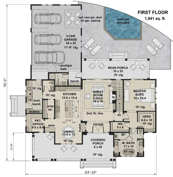 House Plan Design - Farmhouse Floor Plan - Main Floor Plan #51-1153
