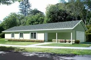 Ranch Exterior - Front Elevation Plan #1-1065
