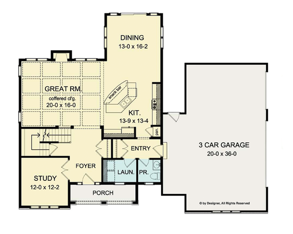 Colonial Floor Plan - Main Floor Plan Plan #1010-36