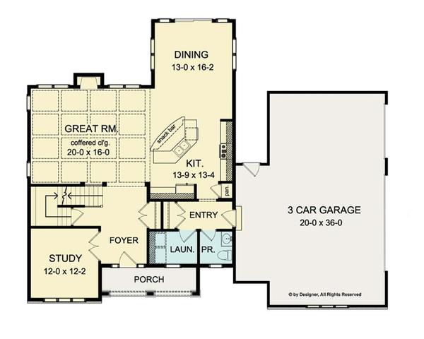 House Plan Design - Colonial Floor Plan - Main Floor Plan #1010-36