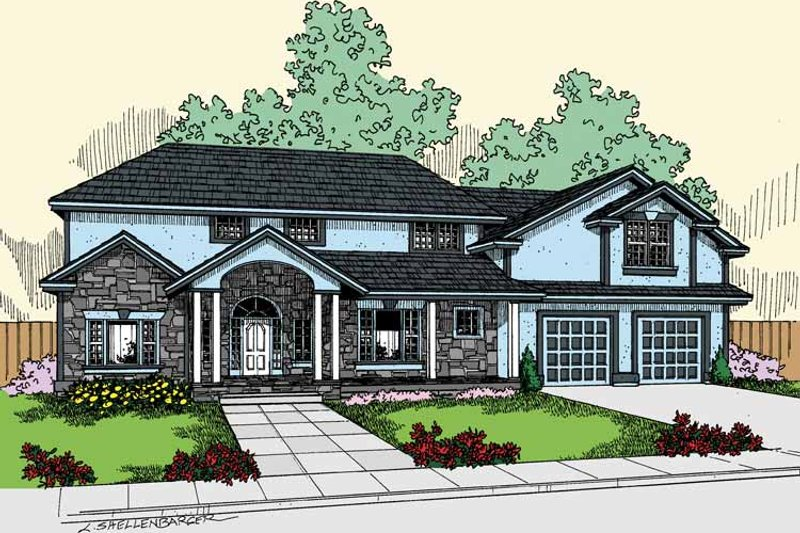 Architectural House Design - Country Exterior - Front Elevation Plan #60-831