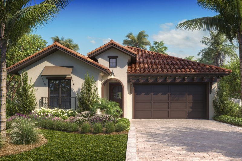 Mediterranean Style House Plan - 3 Beds 3 Baths 1822 Sq/Ft Plan #27-575 Exterior - Front Elevation