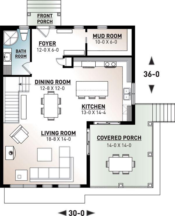 Architectural House Design - Cottage Floor Plan - Main Floor Plan #23-2713