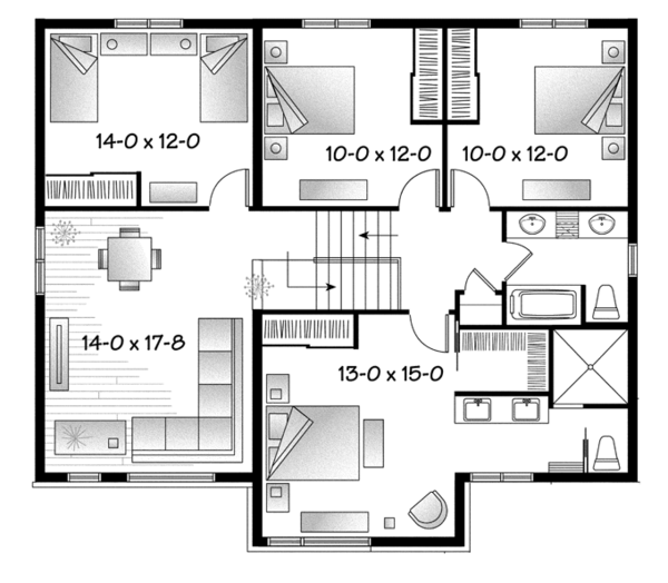 Contemporary Floor Plan - Upper Floor Plan Plan #23-2588